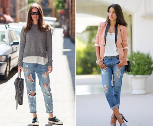 O jeans navalhado pode ser usado tanto no verão quanto no inverno