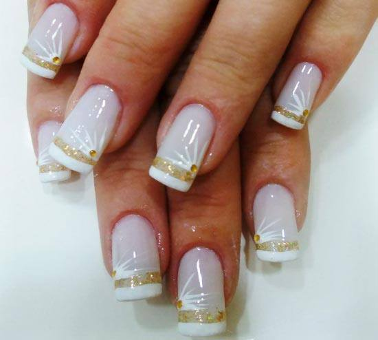 decoracao em unha branca : decoracao em unha branca:Gold French Tip Nail Designs