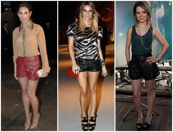 O shorts de couro é uma peça coringa e pode ser usado em todas as ocasiões