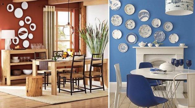 Em que ambiente se usa pratos na decoração?