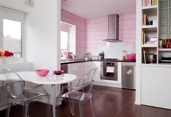 Sala De Estar Parede Rosa ~ Decoração de Cozinhas com Papel de Parede  Vestir e Maquiar