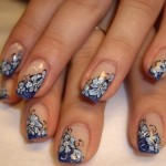 Great-French-Nail-Decoration-With-Blue-Flowers