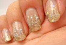 degrade com glitter unhas