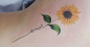 tatuagem feminina: girassol