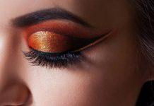 Maquiagem colorida e brilhante nos olhos